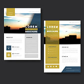 Picturesque brochure template design with city landscape and blurred background