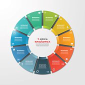 Pie chart circle infographic template with 11 options. Business concept. Vector illustration.