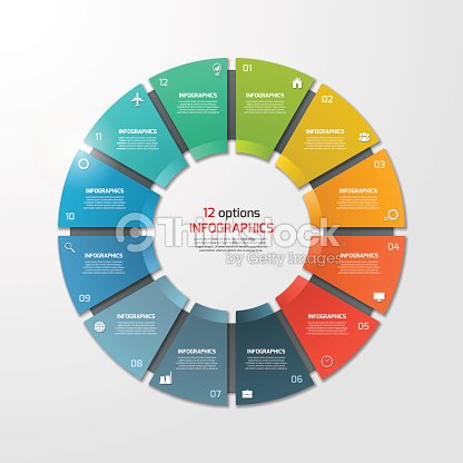 pie chart circle infographic template with 12 options ベクトルアート