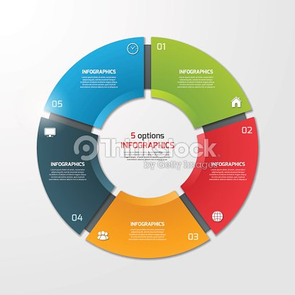 pie chart circle infographic template with 5 options ベクトルアート