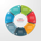 Pie chart circle infographic template with 7 options. Business concept. Vector illustration.