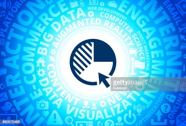 Pie Chart Icon on Internet Modern Technology Words Background