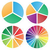Pie chart group vector graphic with modern soft bold gradient colors, nice spacing between slices, perfect for business presentations, isolated for easy editing