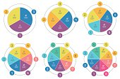Pie charts with 3 - 8 steps, sections. Vector templates.