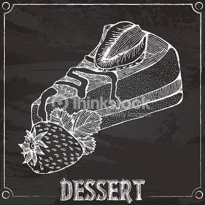 Fetta Di Torta Con Fragole Disegno A Gesso Arte Vettoriale Thinkstock