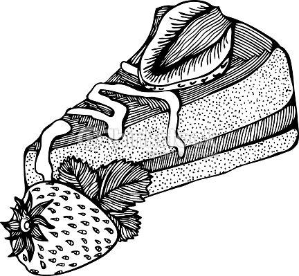 Fetta Di Torta Con Fragole Monocromatico Disegno Arte Vettoriale