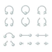 Body piercing jewelry set. Curve, barbell, spike, ball closure ring. Shiny metal earrings isolated vector illustration.
