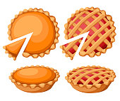 Pies Vector Illustration. Thanksgiving and Holiday Pumpkin Pie. Happy Thanksgiving Day traditional pumpkin pie with whipped cream on the top Web site page and mobile app design vector element.