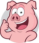 Clipart picture of a pig cartoon character giving thumbs up in round frame