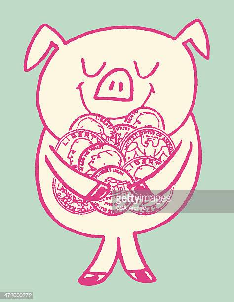 Pig Holding Coins