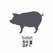 Pig silhouette. Pork meat. Butcher shop label template for craft food packaging or restaurant design. Vector illustration