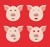 Pig. Symbol of the year 2019. Vector illustration.