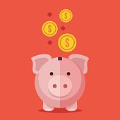 Piggy bank and gold coins. Modern flat design vector illustration
