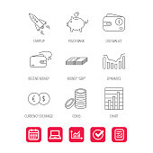 Piggy bank, cash money and startup rocket icons. Wallet, currency exchange and dollar usd linear signs. Chart, coins and dynamics icons. Report document, Graph chart and Calendar signs. Vector