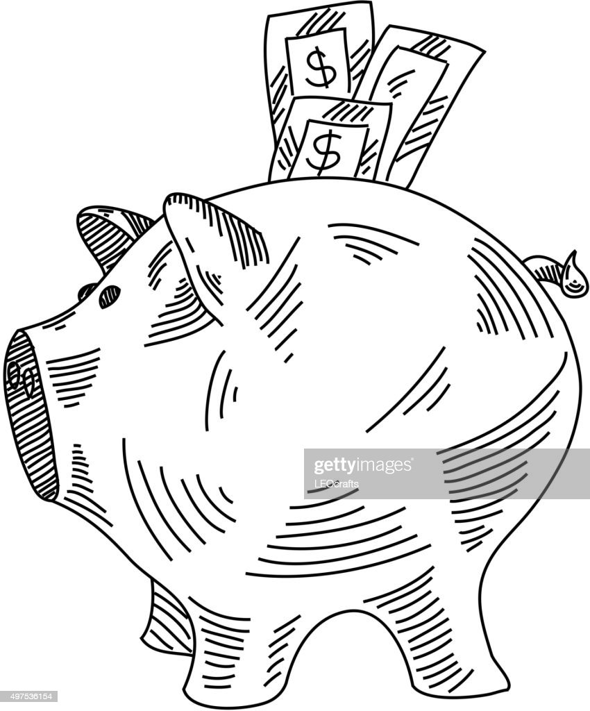 piggy bank drawing vector art getty images