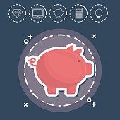 piggy bank Fintech Investment Financial Internet Technology Concept vector illustration graphic design