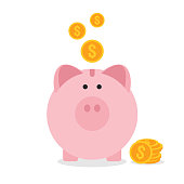 Piggy bank flat design, saving money concept vector illustration