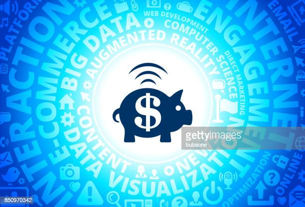 Piggy Bank Icon on Internet Modern Technology Words Background
