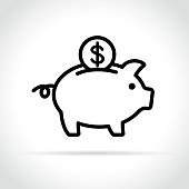 Illustration of piggy bank icon on white background