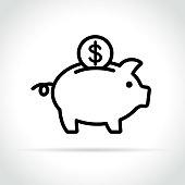 Illustration of piggy bank icon on white background