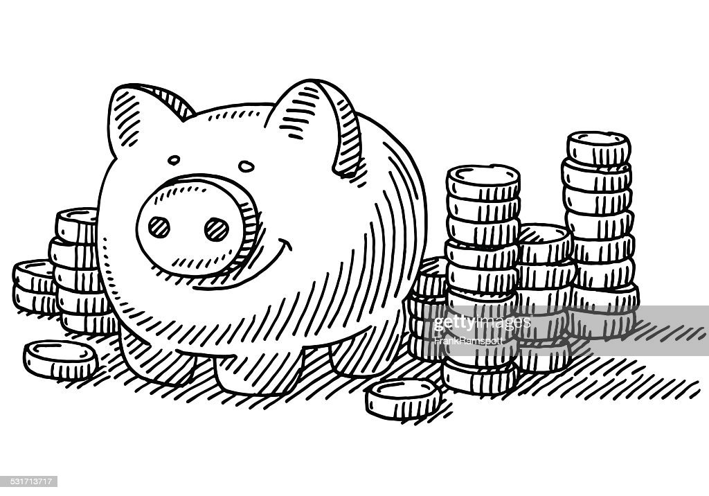 Bank Protection Drawing : Piggy bank stacks of coins savings drawing vector art
