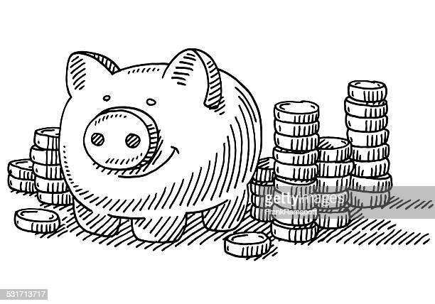 Piggy Bank Stacks Of Coins Savings Drawing