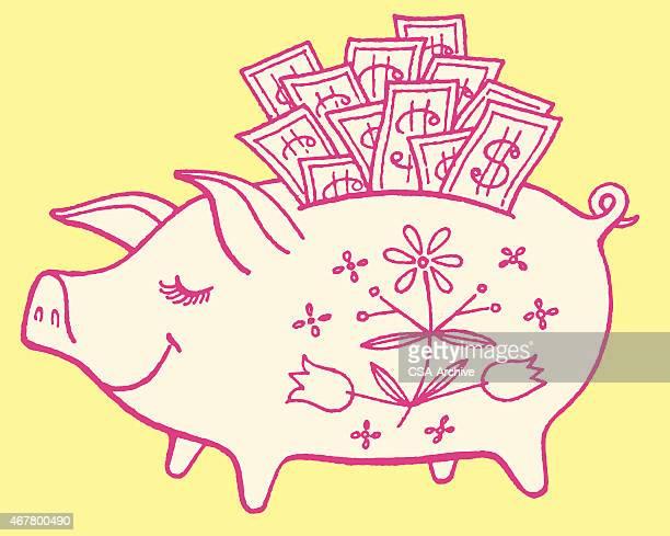 Piggy Bank Stuffed With Money