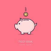 Piggy bank simple vector illustration in flat linework style