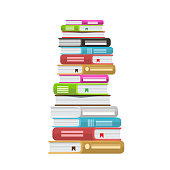 Pile of books vector illustration. Icon stack of books with solid color and flat style. Illustrated vector.