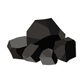 Pile of charcoal, graphite coal. Vector illustration on white background