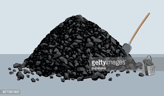 Pile of coal with shovel and bucket : stock vector