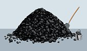 Pile of coal with shovel and bucket. Vector illustration