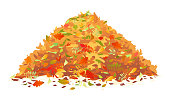 Pile of various autumn fallen leaves in red and orange colors, one big dump of leaves, autumn concept illustration, isolated