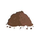 Organic fertilizer. Pile of ground or compost. Vector illustration flat design