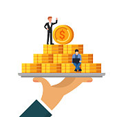 Pile of money on a tray. The concept of wealth or financial well-being. Small people work with coins. Flat vector illustration isolated on white background