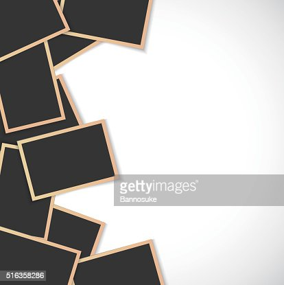 Pile of photo frames on white background : Vector Art
