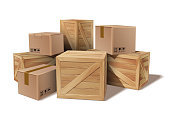 Pile of stacked sealed goods cardboard and wooden boxes. Delivery, cargo, logistic and transportation warehouse storage concept. Vector illustration isolated on white background.