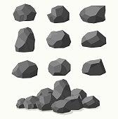 Pile of  stones, graphite coal.