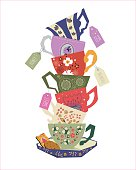 Pile of stylized teacups with teabags and biscuits alongside, vector illustration with hand drawn decorative elements.