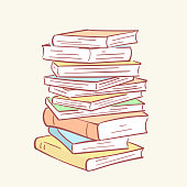 Pile stack books hand drawn style vector doodle design illustrations set