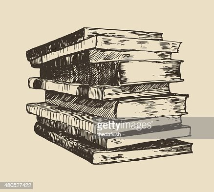 Pile stack of old books vintage hand drawn vector : Vectorkunst