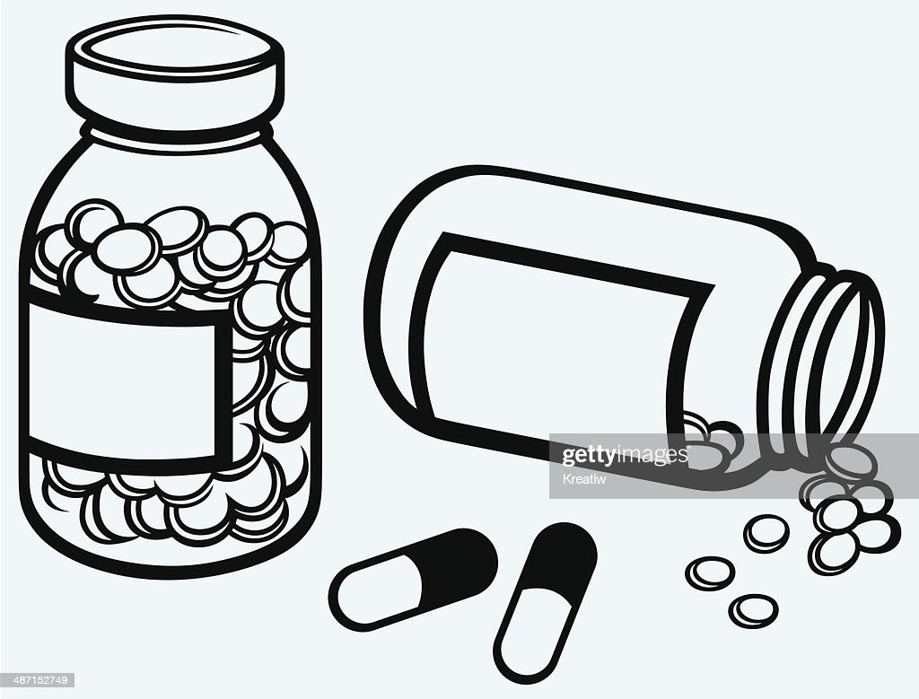 pill bottle spilling pills on to surface vector art thinkstock rh thinkstockphotos ae Clipboard Clip Art Clip Art Medical Supply Bag