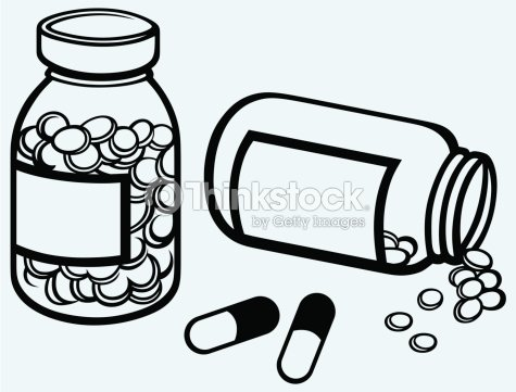 Pill bottle spilling pills on to surface vector art for How to draw a pill