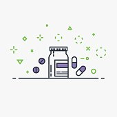 Pharmacy line style vector concept. Bottle with prescription, pills and tablets, capsules. Abstract flat vector. Health care and medicine illustration. Flat style. Dots and circles background.