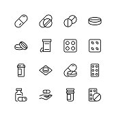 Pills icon set. Collection of high quality black outline logo for web site design and mobile apps. Vector illustration on a white background.