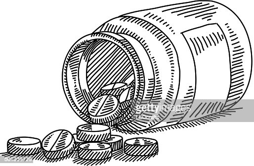 Pills with bottle drawing vector art getty images for How to draw a pill