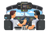 Pilots in cockpit plane with control board flat design. Airplane captain and command of plane. Vector illustration