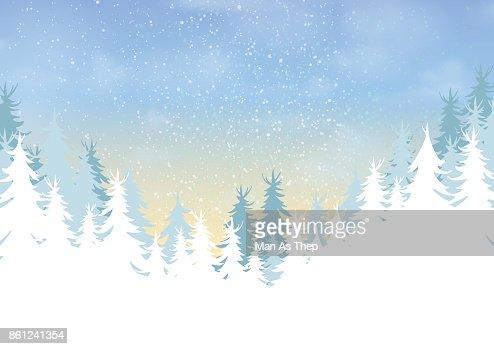 Bosque de pinos sobre fondo de paisaje de temporada de invierno : Arte vectorial