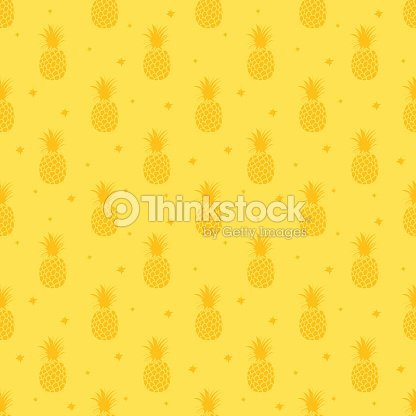 Pineapple Background Cute Pineapples Seamless Pattern Summer Tropical All Over Print Vector