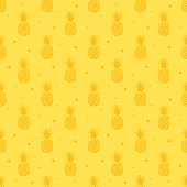 Seamless pattern with cute funny multi-colored pineapple fruit. Surface pattern design. Summer tropical all over print.